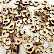 100pcs Wooden Hollow Love Heart Rustic Wedding Table Scatter Decoration Crafts