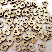 200pcs Wooden Hollow Love Heart Rustic Wedding Table Scatter Decoration Crafts