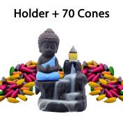 Incense Burner Backflow Set Mixed Aromatherapy Tower Cones Sticks Holder Ceramic Waterfall Buddha Monk Ash Catcher -IN007 Blue