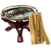 Premium Abalone Shell with Wooden Tripod Stand and 6 Palo Santo Sticks. Alternative Imagination Brand.