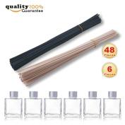 PMLAND natural rattan reed diffuser sticks replacement stick 24pcs black,24pcs nautral sticks,Set of 6 Square Glass Diffuser Bottles - 8.3cm High.