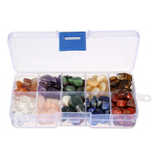 Crystal Quartz,Charminer 0.2kg 10-Stone Mix:Red Crystal.Amethyst,Red & Green Gem,Yellow Agate,Tiger's Eye,Turquoise,Rose Quartz,Green Olives,Lapis Lazuli,Red Agate, Raw Natural Crystals for Cabbing