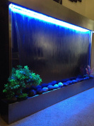 Waterfall XXL 130cm x 90cm Wall Fountain , Stainless Steel ,Mirror Glass , Colour Lights , Remote Ctrl