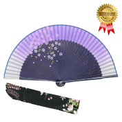 """OMyTea® """"Sakura-Long-Legs"""" 8.27""""(21cm) Folding Hand Held Fan - With a Fabric Sleeve for Protection for Gifts - Chinese / Japanese Vintage Retro Style"""