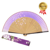 "OMyTea® ""Sakura-Long-Legs"" 8.27""(21cm) Folding Hand Held Fan - With a Fabric Sleeve for Protection for Gifts - Chinese / Japanese Vintage Retro Style"