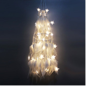 Dream Catcher Glow in the Dark Dream Cather Net with Feathers LED Lights Ornament for Room Home Decorations 80cm - White