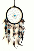Dream Catcher DreamCatcher - BLACK SUEDE WITH TURQUOISE STONE - Handmade, LARGE SIZE - 70cm Long x 23cm Diameter - OMA BRAND