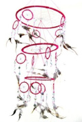 Dream Catcher Dreamcatcher Feather and Glass DreamCatcher Native American Decor, TRIPLE PINK -X LARGE - 80cm L X 25cm D - OMA BRAND