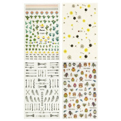 ALLYDREW 4 Sheets Nail Stickers Nail Art Set, Owls & Cactus Nail Stickers