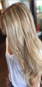 Full Shine 46cm Fish Line Hair Extension Ombre Colour #18 Fading to Colour #22 and Colour #60 Blonde Halo Remy Hair Straight Natural Real Human Extension 80g Onepiece