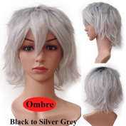 s-noilite Women Mens Short Anime Cosplay Wigs Ombre Loose Fluffy Tail Straight Synthetic Hair Full Wig Cool Party Costume