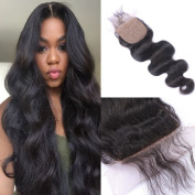Swinging Forest Silk Base Top Lace Closure Body Wave Bleached Knots Free Part 10cm X 10cm Brazilian Virgin Human Hair Natural Colour 36cm
