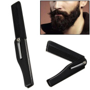 2 in 1 Comb! AMA(TM) Hairdressing Folding Hair and Beard Comb Pocket Size Beauty Tools for Men