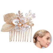 Meiysh Vintage Flower and Leaf Inspiration Wedding Hair Comb Headpiece for Brides-Top-Selling Wedding Hair Accessories,gold
