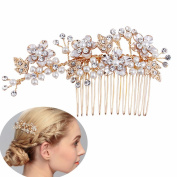 Meiysh Handmade Brushed Gold and Ivory Pearl Wedding Comb for Brides,Wedding Hair Accessories
