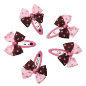 WuyiMC 5PCS Snap Hair Clips Pinwheel Bow - Boutique No Slip Grip Metal Barrettes for Girls Teens Toddlers Babies Children Kids Women Adults Beauty Accessories Assorted Colour