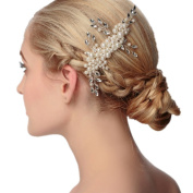 Meiysh Simulated Pearl Bridal Hair Comb with Crystal Wedding Headpiece Hair Accessories