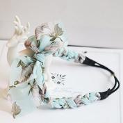 Enking Sky Blue Chiffon Floral Rabbit Ears Twisted Braids Hair Band