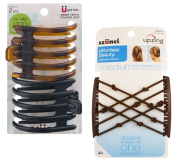 Scunci Double Combs Upzing Medium Black Or Dark Brown with Scunci Inner Teeth Hair Clip, No Slip Grip - 2 CT