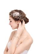 Golden bride headdress Small fresh imitation pearl hairpin and imitation pearl bracelet Wedding Headpiece Hair Clip
