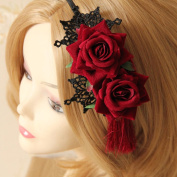 Women Gothic Lace Rose Flower Tassel Party Prom Hairband Headband