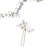 HailieBridal Women's Wedding Bride White Floral Headpiece