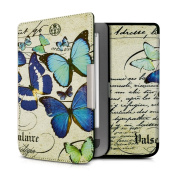 kwmobile Elegant synthetic leather case for the Pocketbook Touch Lux 3/Touch Lux 2/Basic Lux/Basic 3/Basic Touch 2 Design butterflies vintage in blue mint beige