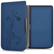 kwmobile Elegant synthetic leather case for the Pocketbook Touch Lux 3/Touch Lux 2/Basic Lux/Basic 3/Basic Touch 2 Design tendril butterfly in dark blue
