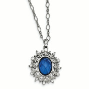 Silver-tone Blue and White Crystal w/7.6cm ext. Necklace