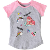 """My Little Pony Toddler Girls' Pinkie Pie """"Sweet! Magical"""" Raglan Short Sleeve Graphic Crystalline & Patches T-Shirt"""