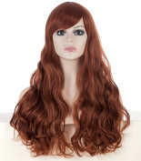 Halloween Cosplay Wigs 60cm Curly Waves Full Head Hair Extensions Caramel Colour Wigs with Bangs for European Women with Free Cap and Comb