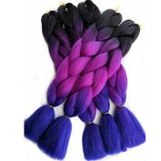 Esprit Beauty Synthetic Yaki Straight Braiding Hair Extensions 60cm 100g/pack 6pcs/lot Black Purple Blue Ombre Jumbo Crochet Braid Bulk