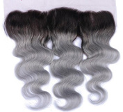 Romantic Angels Lace Frontal Closure 13×4 Ombre Body Wave Free Part Closure Natural Black Silver Grey #1B/Grey
