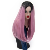 Alacos 65CM Long Straight Black Roots Ombre Synthetic Daily Christmas Costumes Cosplay Wigs for Women +Free Wig Cap