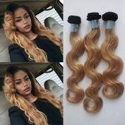 FOND Brazilian Virgin Remy Hair Extensions 3 Bundles Body Wave Human Hair Ombre Colour 100g/piece