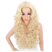 KRSI Long Wavy Curly Women's Wigs 70cm Golden Blonde Natural Hair Wigs With Side Bangs Heat Resistant Party Cosplay None Lace Wigs+Free Wig Cap