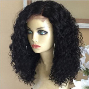 Curly Lace Front Human Hair Wigs Peruvian Virgin Hair Glueless Curly Lace Front Wigs For Black Women Natural Colour