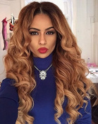 Brazilian Human Hair Ombre Blonde Full Lace Wigs Dark Root Loose Wave Lace Front Wig Bleached Knot Pre Plucked Hairline 150% Density