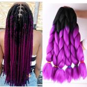 UR Meili 6 pcs /lot 60cm Ombre Kanekalon Jumbo Braiding Hair Synthetic Crochet Braid Hair Extensions 100g Bulk Hair