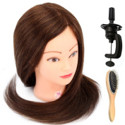Neverland Beauty 60cm 80% Real Human Long Hair Hairdressing Cosmetology Mannequin Manikin Head Model with Clamp + Steel Wig Comb