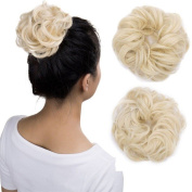 Wavy Curly Messy Hair Bun Extensions Donut Hair Chignons Scrunchy Scrunchies Updo Hairpiece Hair Ribbon Ponytail Extension - Bleach Blonde