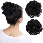 Wavy Curly Messy Hair Bun Extensions Donut Hair Chignons Scrunchy Scrunchies Updo Hairpiece Hair Ribbon Ponytail Extension - Dark Black