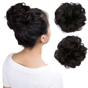 Wavy Curly Messy Hair Bun Extensions Donut Hair Chignons Scrunchy Scrunchies Updo Hairpiece Hair Ribbon Ponytail Extension - Natural Black mix Dark Brown
