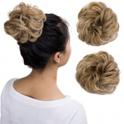 Wavy Curly Messy Hair Bun Extensions Donut Hair Chignons Scrunchy Scrunchies Updo Hairpiece Hair Ribbon Ponytail Extension - Sandy Blonde mix Bleach Blonde
