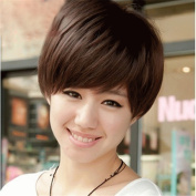 Synthetic Fake Wigs Black Short Wavy Fluffy Layered Cut Wigs With Bangs For Black Women