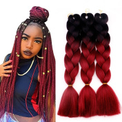 Alan 5 Pieces/lot 2 Tone Ombre Braiding Hair 60cm Crochet Braids Synthetic Hair Extensions for Women