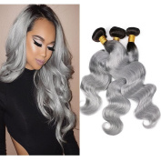 FOND Brazilian Virgin Remy Hair 3 Bundles Body Wave Human Hair for Black Women Ombre Grey 100g/piece