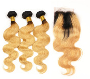 """Stella Reina Hair Bundles with Closure Colour #1b/27 Dark Roots Honey Blonde Ombre Brazilian Hair Body Wave 3 Bundles with 4""""x 4"""" Lace Closure Sew In Weaves Extension 14""""16"""" 18"""" & 12"""""""
