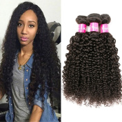 Eullair Curly Brazilian Virgin Hair Extensions 3 Bundles 100% Unprocessed Jerry Curly Human Hair Weave (100+/-5g)/pc) Natural Colour