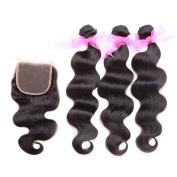 Peruvian Human Hair Body Wave Weave Unprocessed Virgin Hair Weft 3 Bundles with Lace Closure 25cm 30cm 36cm +25cm Natural Black
